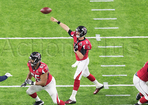 February 5th 2017, Houston, Texas, USA;   Atlanta Falcons quarterback Matt Ryan (2) throws for a pass during the New England Patriots 34-28 victory over the Atlanta Falcons
