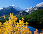 fall, autumn, morning, Bear Lake, Longs Peak, mountains, Rocky Mountain National Park, Colodrao
