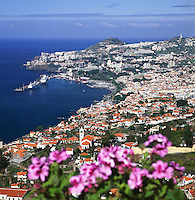 Portugal, Madeira, Funchal: View over Town & Bay | Portugal, Madeira, Funchal: Stadtansicht