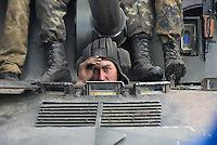 A Ukrainian tank is being blocked by local citizens near Kramatorsk city during the anti-terrorist operation.