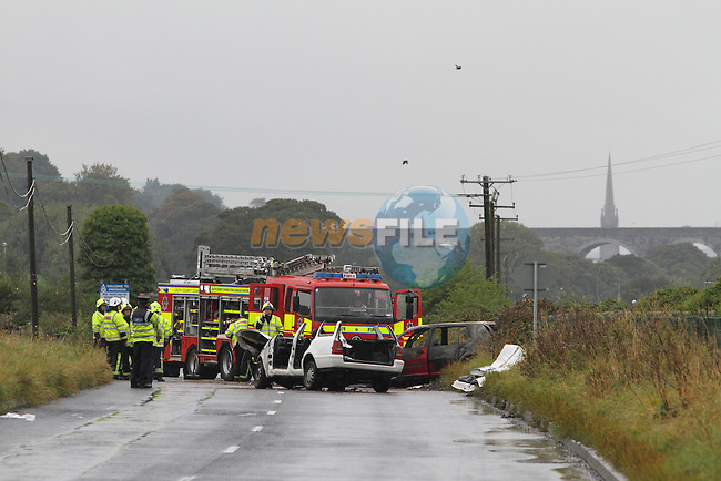Two Car RTA on the Marsh Road, Drogheda, Co.Louth 24/9/12..Photo NEWSFILE.