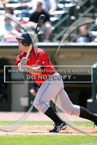 May 12, 2009:  First Baseman Steve Pearce of the Indianapolis Indians, International League Class-AAA affiliate of the Pittsburgh Pirates, at bat during a game at Frontier Field in Rochester, FL.  Photo by:  Mike Janes/Four Seam Images