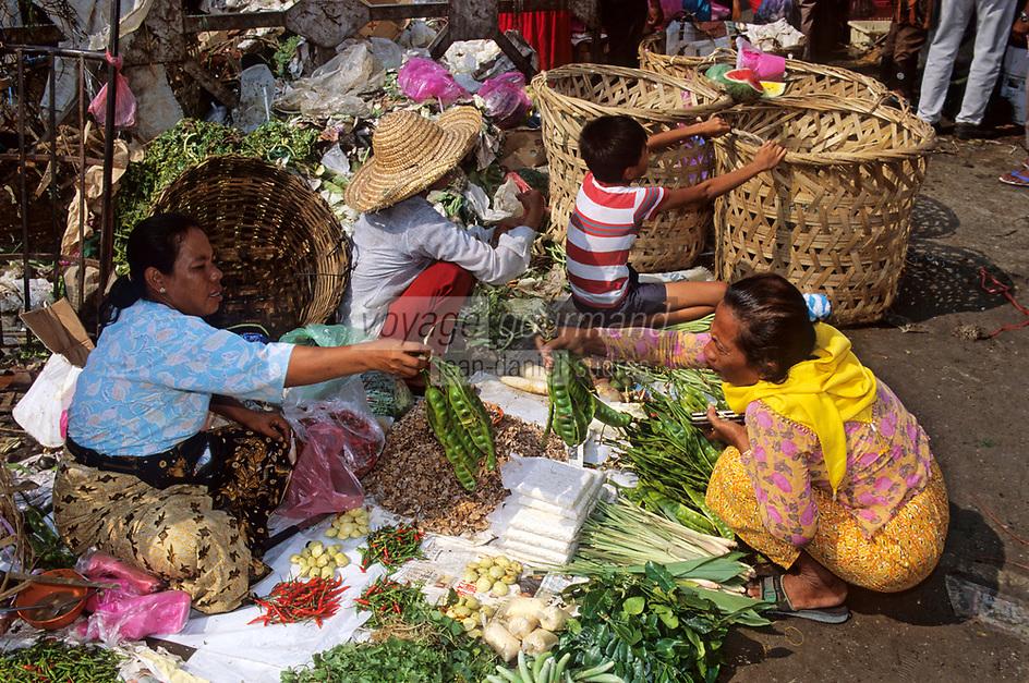 Asie/Malaisie/Kuala Lumpur: Le marché de gros - Etal de Légumes et de fougères de la jungle , base de la cuisine malaise.