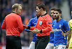 29.11.2018 Rangers v Villarreal: Linesman confers with referee to confirm with him he has already booked Daniel Candeias earlier in the match