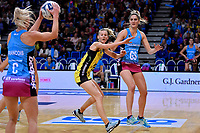 Steel's Jennifer O&rsquo;Connell and Pulse&rsquo; Katrina Grant in action during the ANZ Premiership - Pulse v Steel at Te Rauparaha Arena, Porirua, New Zealand on Wednesday 30 May 2018.<br /> Photo by Masanori Udagawa. <br /> www.photowellington.photoshelter.com