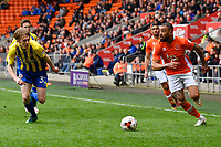 Blackpool's Kyle Vassell under pressure from  Accrington Stanley's Harvey Rodgers<br /> <br /> Photographer Terry Donnelly/CameraSport<br /> <br /> The EFL Sky Bet League Two - Blackpool v Accrington Stanley - Friday 14th April 2017 - Bloomfield Road - Blackpool<br /> <br /> World Copyright &copy; 2017 CameraSport. All rights reserved. 43 Linden Ave. Countesthorpe. Leicester. England. LE8 5PG - Tel: +44 (0) 116 277 4147 - admin@camerasport.com - www.camerasport.com