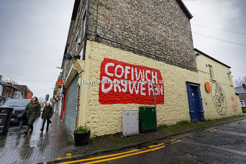 Pictured: A Cofiwch Dryweryn graffiti (Remember Tryweryn) on a wall in Bridgend, Wales, UK. Wednesday 19 February 2020<br /> Re: The effect of the Ford factory closure will have to Bridgend in south Wales, UK.