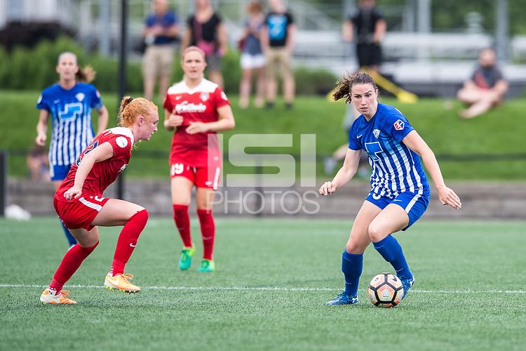 Boston, MA - Saturday July 01, 2017: Tori Huster and Morgan Andrews during a regular season National Women's Soccer League (NWSL) match between the Boston Breakers and the Washington Spirit at Jordan Field.