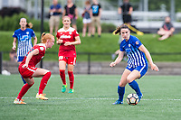 Boston, MA - Saturday July 01, 2017: Tori Huster and Morgan Andrews during a regular season National Women's Soccer League (NWSL) match between the Boston Breakers and the Washington Spirit at Jordan Field.