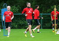 (L-R) Jonny Williams and Gareth Bale in action during the Wales Training Session at the Vale Resort, Hensol, Wales, UK. Tuesday 29 August 2017