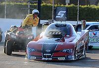 Nov. 11, 2012; Pomona, CA, USA: NHRA funny car driver Cruz Pedregon during the Auto Club Finals at at Auto Club Raceway at Pomona. Mandatory Credit: Mark J. Rebilas-