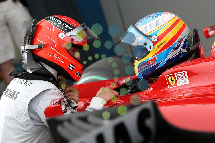 F1 GP of Australia, Melbourne 26. - 28. March 2010.Michael Schumacher (GER), Mercedes GP - Fernando Alonso (ESP),  Scuderia Ferrari ..Picture:Hasan Bratic/Universal News And Sport (Europe) 27/03/2010.
