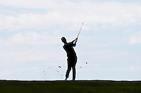 Silhouette of Mark Foster (ENG) playing down the 2nd hole during Round Two of the 2015 Nordea Masters at the PGA Sweden National, Bara, Malmo, Sweden. 05/06/2015. Picture David Lloyd | www.golffile.ie