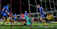 Fleetwood Town's Paddy Madden scores his side's first goal  <br /> <br /> Photographer Alex Dodd/CameraSport<br /> <br /> The EFL Sky Bet League One - Fleetwood Town v Shrewsbury Town - Tuesday 13th February 2018 - Highbury Stadium - Fleetwood<br /> <br /> World Copyright &copy; 2018 CameraSport. All rights reserved. 43 Linden Ave. Countesthorpe. Leicester. England. LE8 5PG - Tel: +44 (0) 116 277 4147 - admin@camerasport.com - www.camerasport.com