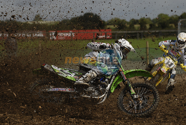 Tanel Leok (EST) leans his Kawasaki hard over to get round the first lap of the MX1 Grand Prix Race1during the Motocross Grand Prix at Fairyhouse Race Course, Co.Meath, Ireland, 31st August 2008.(Photo Eoin Clarke/Newsfile)
