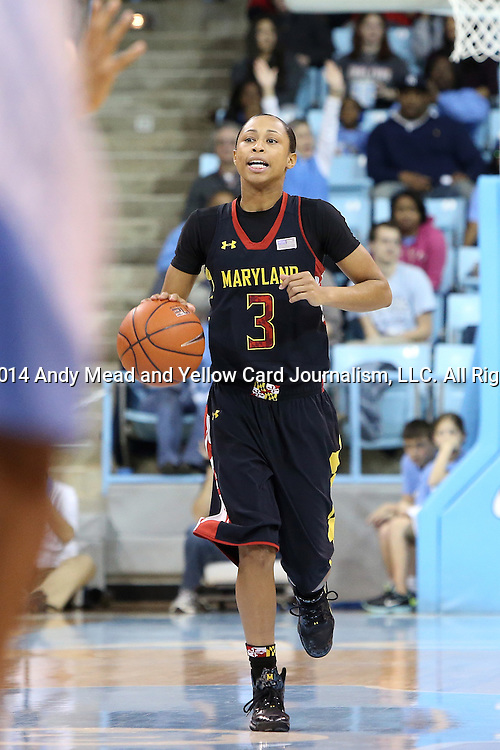 05 January 2014: Maryland's Brene Moseley. The University of North Carolina Tar Heels played the University of Maryland Terrapins in an NCAA Division I women's basketball game at Carmichael Arena in Chapel Hill, North Carolina. Maryland won the game 79-70.
