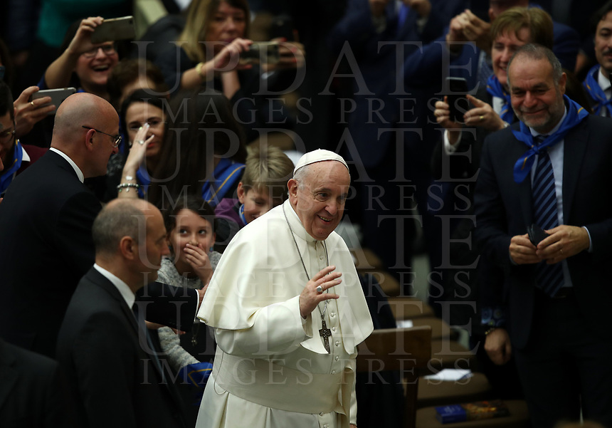Pope Francis greets the faithful as he arrives for an audience with members of the confederation of the Italian cooperatives in the Paul VI Hall at the Vatican, on 16 march, 2019.<br /> UPDATE IMAGES PRESS/Isabella Bonotto<br /> <br /> STRICTLY ONLY FOR EDITORIAL USE