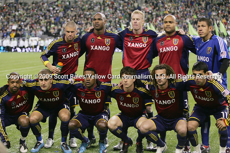 22 November 2009: Salt Lake's starters pose for a team photo. Front row (l to r): Andy Williams (CAN), Yura Movsisyan (AZE), Robbie Findlay, Will Johnson (CAN), Kyle Beckerman, Javier Morales (ARG). Back row (l to r): Chris Wingert, Jamison Olave (COL), Nat Borchers, Robbie Russell (GHA), Nick Rimando. Real Salt Lake defeated the Los Angeles Galaxy 5-4 on penalty kicks after the teams played to a 1-1 overtime tie at Qwest Field in Seattle, Washington in MLS Cup 2009, Major League Soccer's championship game.