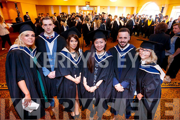 Cathy O'Donoghue (Castlemaine), Matthew Crowley Holland (Kenmare), Jennifer McEnery (Sligo), Vivian Hung (Cork and Taiwan), Gerard Kelly (Dublin) and Isabella Zelowska (Dublin and Poland), who graduated in Hotel Management, from from IT Tralee, at the Brandon Conference Centre, Tralee, on Friday last.