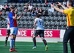 AMSTELVEEN -Fergus Kavanagh (Adam) heeft gescoord    tijdens  de hoofdklasse competitiewedstrijd hockey heren,  Amsterdam-SCHC (3-1).  COPYRIGHT KOEN SUYK