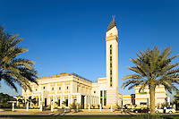 Dubai.  Newly constructed neighbourhood/neighborhood mosque at Emirates Hills community centre/center in residential area..