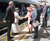 13 June 2017 - Queen Elizabeth II with Prince Philip Duke of Edinburgh meets Ms Gillian White the Great Great Granddaughter of Sir Daneil Gooch ad Mr Isambard the Thomas Great Great Great Grandson of Isambard Kingdom Brunel at London Paddington Station, marking the 175th anniversary of the first train journey by a British monarch. The Queen and The Duke of Edinburgh traveling from Slough to London Paddington on a Great Western Railway train, recreating the historic journey made by Queen Victoria on 13th June 1842. Photo Credit: ALPR/AdMedia