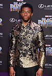 HOLLYWOOD, CA - JANUARY 29: Actor Chadwick Boseman attends the premiere of Disney and Marvel's 'Black Panther' at  the Dolby Theater on January 28, 2018 in Hollywood, California.
