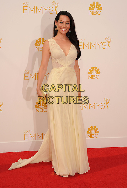 LOS ANGELES, CA- AUGUST 25: Actress Lucy Liu arrives at the 66th Annual Primetime Emmy Awards at Nokia Theatre L.A. Live on August 25, 2014 in Los Angeles, California.<br /> CAP/ROT/TM<br /> &copy;Tony Michaels/Roth Stock/Capital Pictures