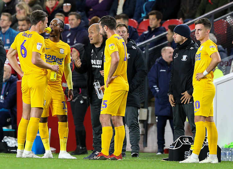 Preston North End manager Alex Neil gives instructions to his team during a break in play<br /> <br /> Photographer Alex Dodd/CameraSport<br /> <br /> The EFL Sky Bet Championship - Middlesbrough v Preston North End - Tuesday 1st October 2019  - Riverside Stadium - Middlesbrough<br /> <br /> World Copyright © 2019 CameraSport. All rights reserved. 43 Linden Ave. Countesthorpe. Leicester. England. LE8 5PG - Tel: +44 (0) 116 277 4147 - admin@camerasport.com - www.camerasport.com