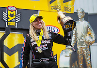 May 1, 2016; Baytown, TX, USA; NHRA funny car driver Courtney Force celebrates after winning the Spring Nationals at Royal Purple Raceway. Mandatory Credit: Mark J. Rebilas-USA TODAY Sports