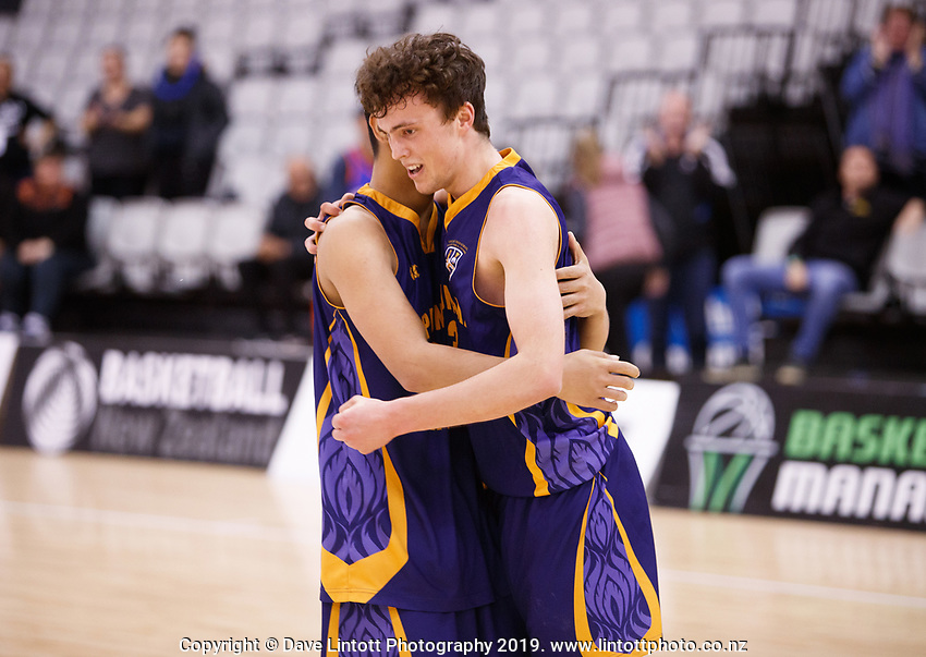 Action from the 2019 Schick Secondary Schools Basketball National Championship A Boys' final between Opunake High School and St Kevin's College at the Central Energy Trust Arena in Palmerston North, New Zealand on Thursday, 3 October 2019. Photo: Kevin Bills / lintottphoto.co.nz