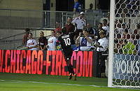 AC Milan midfielder Clarence Seedorf (10) celebrates after scoring the game's only goal.  AC Milan defeated the Chicago Fire 1-0 at Toyota Park in Bridgeview, IL on May 30, 2010.
