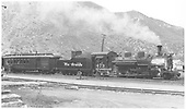 K-28 #473 at head of passenger train in Durango.<br /> D&amp;RGW  Durango, CO  Taken by Richardson, Robert W. - 6/6/1949