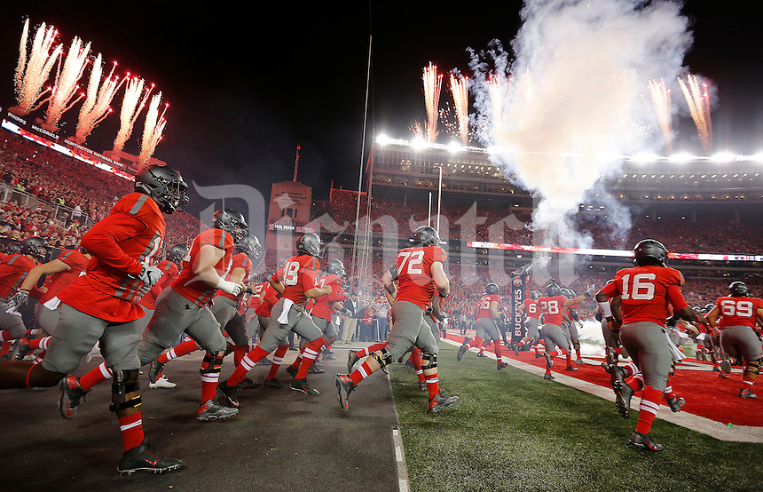 Ohio State Buckeyes take the field before the NCAA football game between the Ohio State Buckeyes and the Nebraska Cornhuskers at Ohio Stadium in Columbus on Saturday, November 5, 2016. (Columbus Dispatch photo by Jonathan Quilter)