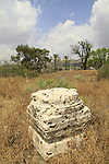 Israel, Sea of Galilee, a column base from the Byzantine period in Beth Yerah