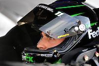 May 1, 2009; Richmond, VA, USA; NASCAR Sprint Cup Series driver Denny Hamlin during qualifying for the Russ Friedman 400 at the Richmond International Raceway. Mandatory Credit: Mark J. Rebilas-