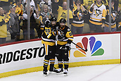 8th June 2017, Pittsburgh, PA, USA; Pittsburgh Penguins defenseman Ron Hainsey (65) celebrates his goal Pittsburgh Penguins right wing Phil Kessel (81) during the second period in Game Five of the 2017 NHL Stanley Cup Final between the Nashville Predators and the Pittsburgh Penguins on June 8, 2017, at PPG Paints Arena