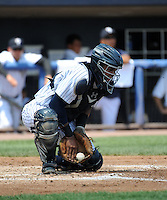 Staten Island Yankees catcher Isaias Tejeda (29) during game against the Batavia Muckdogs at Richmond County Bank Ballpark at St.George on July 18, 2013 in Staten Island, NY.  Batavia defeated Staten Island 8-2.  (Tomasso DeRosa/Four Seam Images)