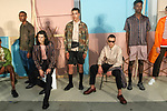 """Models pose in outfits from the Maiden Noir Spring Summer 2018 """"Return To Stone Garden"""" collection by Nin Truong, for New York Mens Day at Dune Studios on July 10, 2017; duing New York Fashion Week: Mens Spring Summer 2018."""