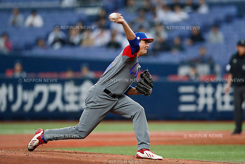 Yosbany Torres (CUB), <br /> MARCH 5, 2017 - Baseball : <br /> 2017 World Baseball Classic Exhibithion Game <br /> between Seibu Lions - Cuba <br /> at Kyocera Dome Osaka in Osaka, Japan. <br /> (Photo by Yohei Osada/AFLO SPORT)