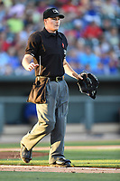 Home plate umpire Sam Burch works a game between the the Columbia Fireflies and West Virginia Power on Friday, May 19, 2017, at Spirit Communications Park in Columbia, South Carolina. West Virginia won, 3-1. (Tom Priddy/Four Seam Images)