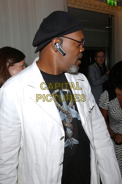 "SAMUEL L. JACKSON.""Miami Vice"" afterparty at the Sanderson Hotel, London, UK..July 27th, 2006.Ref: FIN.after party half length white jacket black hat profile ear piece bluetooth.www.capitalpictures.com.sales@capitalpictures.com.©Steve Finn/Capital Pictures."