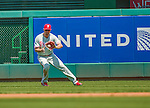 24 May 2015: Philadelphia Phillies outfielder Jeff Francoeur fields a base hit during game action against the Washington Nationals at Nationals Park in Washington, DC. The Nationals defeated the Phillies 4-1 to take the rubber game of their 3-game weekend series. Mandatory Credit: Ed Wolfstein Photo *** RAW (NEF) Image File Available ***