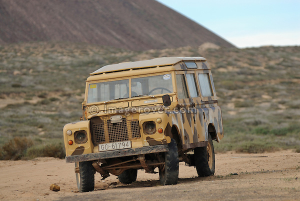 Spain, Canary Islands, Archipielago Chinijo, Isla Graciosa, Caleta del Sebo. Land Rover Santana Station Wagon. --- No releases available. Automotive trademarks are the property of the trademark holder, authorization may be needed for some uses.