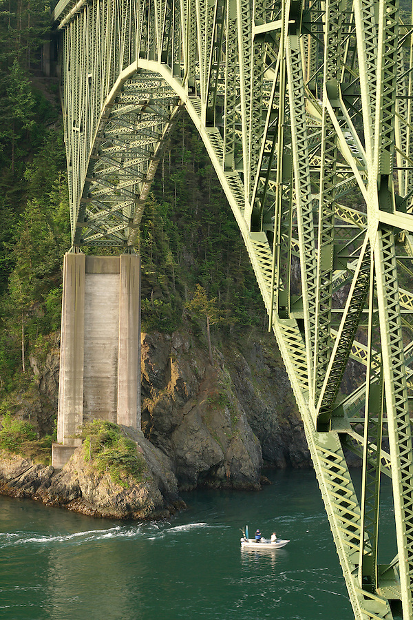 Fishing boat under Deception Pass Bridge, Deception Pass State Park, Island County & Skagit County, Washington, USA