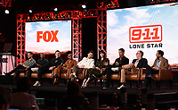 2020 FOX WINTER TCA: (L-R): 9-1-1: LONE STAR cast members Rafael Silva, Brian Michael Smith, Jim Parrack, Sierra McClain, Ronen Rubinstein, Liv Tyler, cast member/Co-Executive Producer Rob Lowe, Co-Creator/Co-Executive Producer/Showrunner Tim Minear and Executive Producer Rashid Raisani during the 9-1-1: LONE STAR panel at the 2020 FOX WINTER TCA at the Langham Hotel, Tuesday, Jan. 7 in Pasadena, CA. © 2020 Fox Media LLC. CR: Frank Micelotta/FOX/PictureGroup