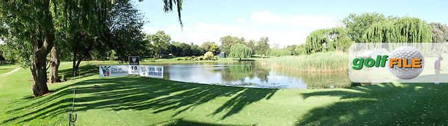 Panoramic view of the pond from the 18th tee during the practice day at the SA Open Championship 2013 at the Glendower Golf Club, Johannesburg, South Africa. Picture:  David Lloyd / www.golffile.ie