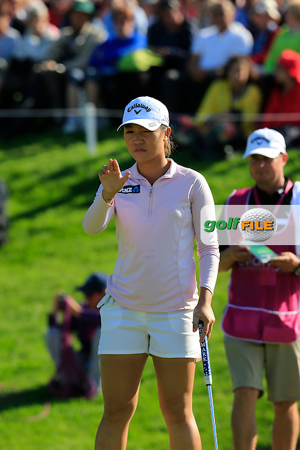 Lydia Ko (NZL) lines up her putt on the 18th green during Sunday's Final Round of the LPGA 2015 Evian Championship, held at the Evian Resort Golf Club, Evian les Bains, France. 13th September 2015.<br /> Picture Eoin Clarke   Golffile