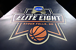 SIOUX FALLS, SD - MARCH 24: The 2018 Division II Elite Eight logo appears on a stanchion during the Division II Men's Basketball Championship held at the Sanford Pentagon on March 24, 2018 in Sioux Falls, South Dakota. Ferris State University defeated Northern State University 71-69. (Photo by Tim Nwachukwu/NCAA Photos via Getty Images)