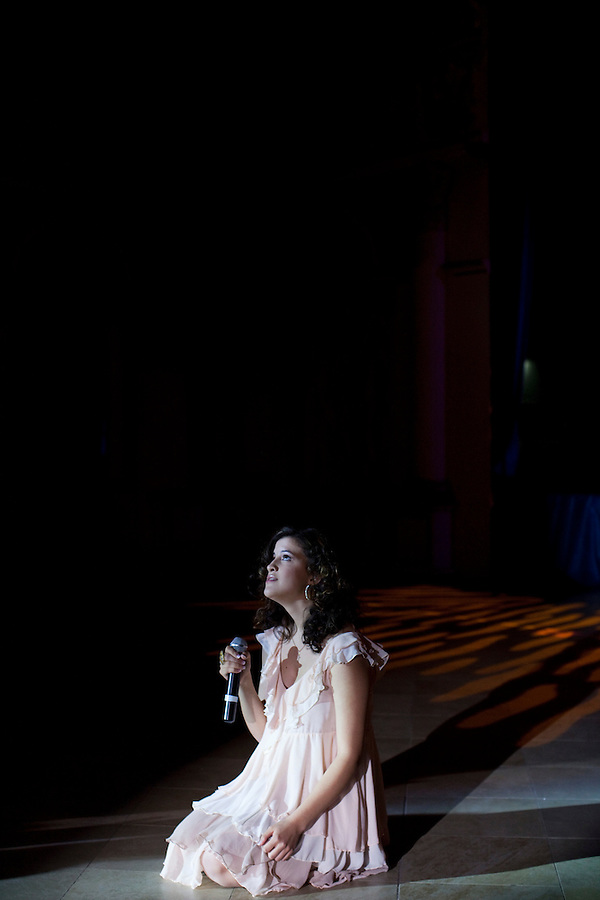 "Moscow, Russia, 24/09/2010..Canadian competitor Kirsten Durand performs Leonard Cohen's ""Hallelujah"" in the semi-finals of the Karaoke World Championships 2010, where amateur singers from around the world competed for prizes that included one million Russian dumplings."